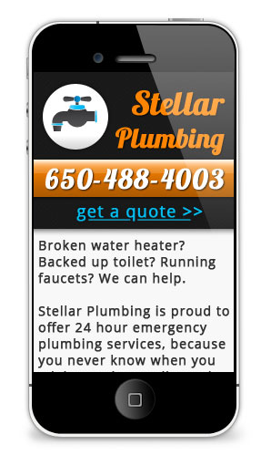 Mockup of a mobile website for Stellar Plumbing