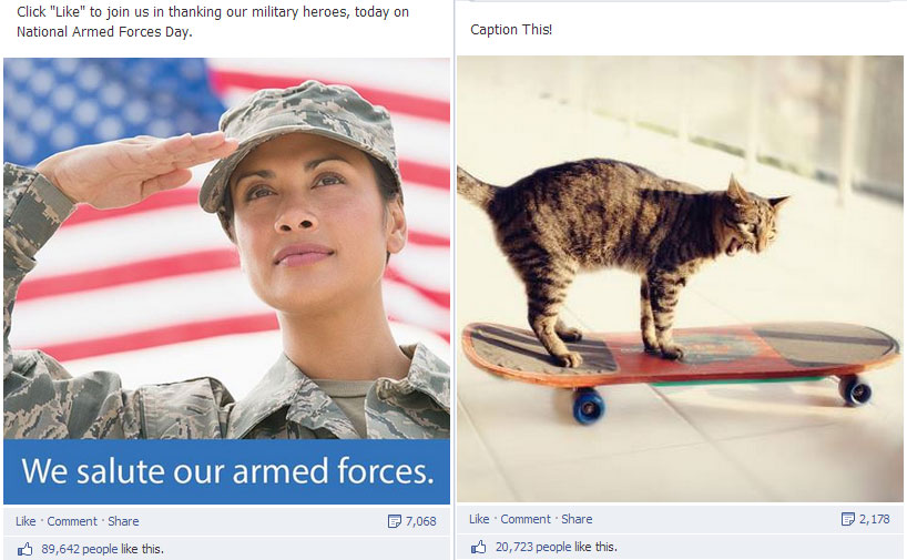 Walmart earns likes on Facebook from military salutes and cat pictures