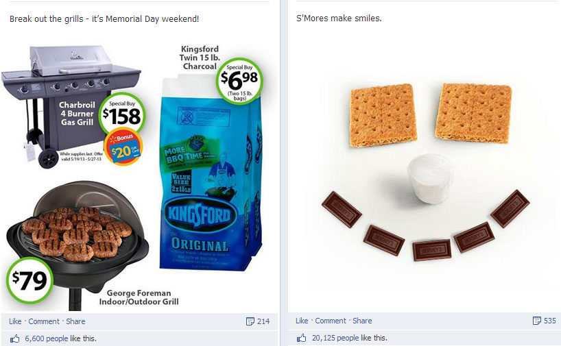 Facebook fans prefer the S'More face to Walmart's BBQ specials