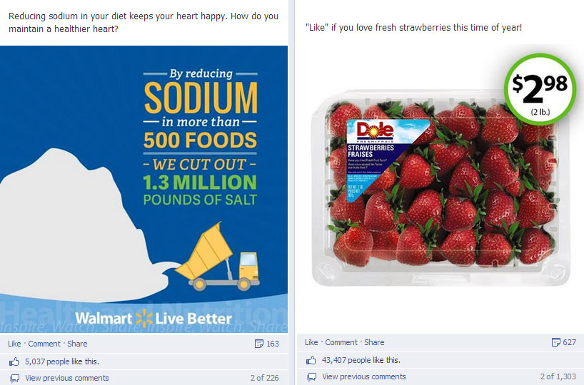 Walmart earns facebook likes from a picture of strawberries