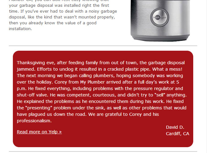 Garbage disposal repair review on My Plumber CA's website