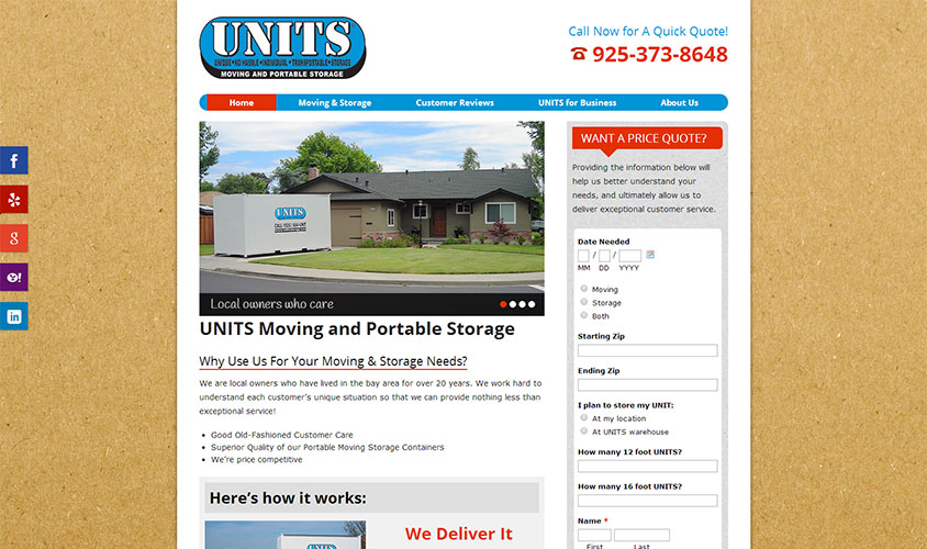 Website for Units East Bay portable storage in Livermore CA