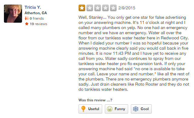 Tricia Y leaves a Yelp review for Stanley S Plumbing, despite not being a customer