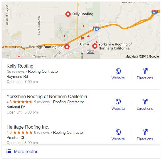 "Google Local Stack showing results for ""roofer in Livermore"""
