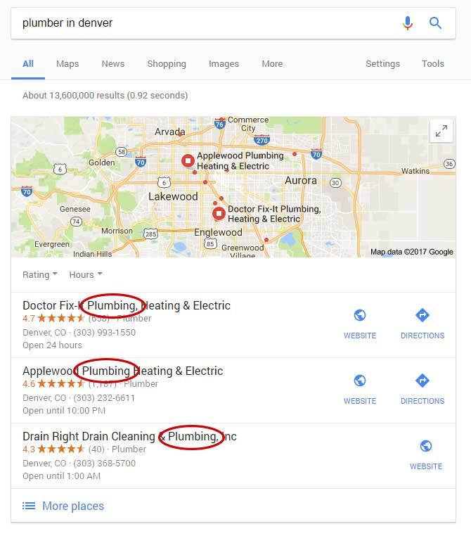 plumbers in Denver on Google